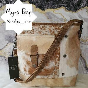 "Myra ""Nut Brown"" Leather & Hair-on Shoulder Bag"